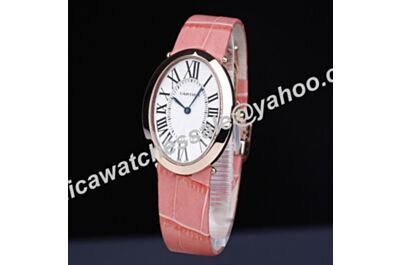 Ladies Cartier Baignoire Gold Bezel White Roman Face Pink Leather Strap Quartz Watch