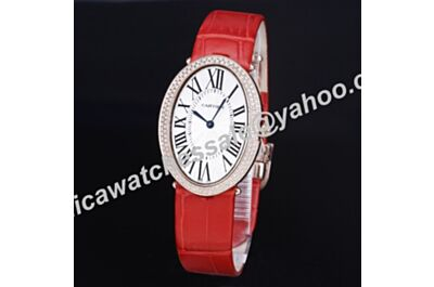 Cartier Baignoire Full Diamonds Pink Gold Bezel Red Leather Band Ladies Quartz Watch Cheap Price