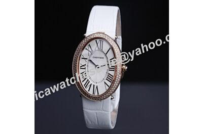 Ladies Cartier Baignoire Diamonds Oval Rose Gold Bezel Quartz WB520004 Watch White Dial & Strap