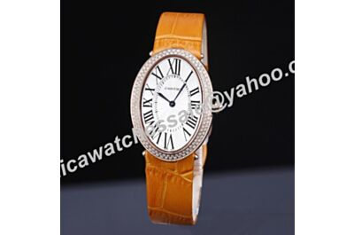 Cartier Baignoire White Dial Swarovski Diamond 44mm Orange Leather Strap Quartz Watch