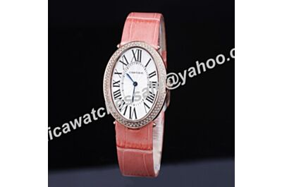 Cartier Baignoire Diamonds Rose Gold Case Quartz Ladies 44mm Special Price Pink Band Watch