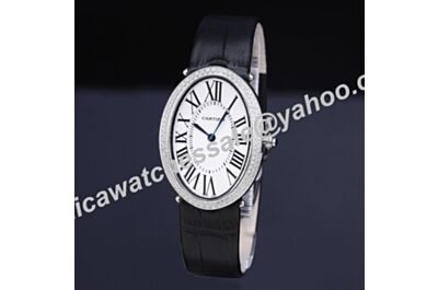 Female Cartier Baignoire Full Diamonds Bezel WB520009 Black Leather Strap Quartz Calibre Watch