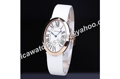 Cartier Baignoire Blue Steel Hands Quartz Roman Scale White Strap 44mm Ladies Replica Watch