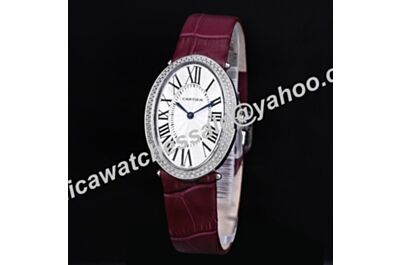 Cartier Baignoire Plum Strap Paved Diamonds Oval Bezel Roman Numerals White Dial Watch