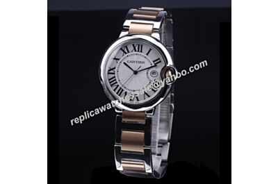 Ballon Bleu de Cartier W2BB0003 Rose Gold Crown Date 2-Tone Steel Watch