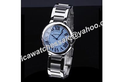 Special Blue Faced Ballon Bleu de 36mm Cartier All Silver Watch