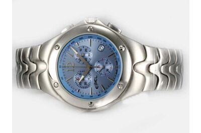 Faux Ebel Classic SportWave Chrono White Gold Blue Day Date Watch