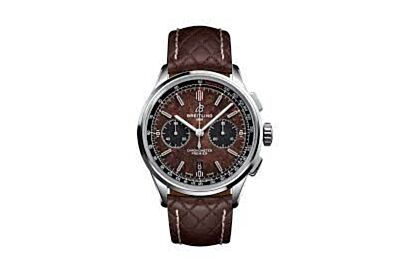 Breitling Premier Brown Dial Black Tachymeter Scale Minute & Hours Counters Arabic Numerals Hour Marker Watch