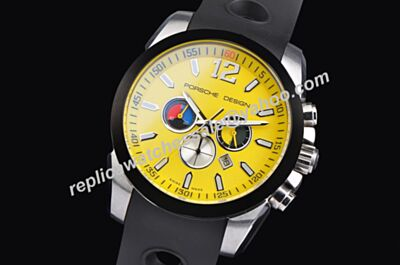 Porsche Design Limited Edition Titanium Black Bezel Yellow Chronograph Watch