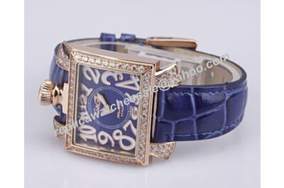 Gaga Milano Napoleone 40mm Ladise Diamonds Blue Rose Gold Watch