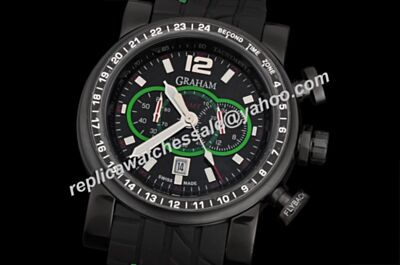 Graham Silverstone Stowe GMT Green Black Steel Quartz Chronometer 48mm Watch