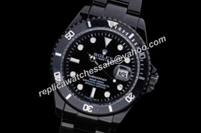Rolex 16610 White Scale Submariner Cerachrom Bezel All Black Date Watch Copy