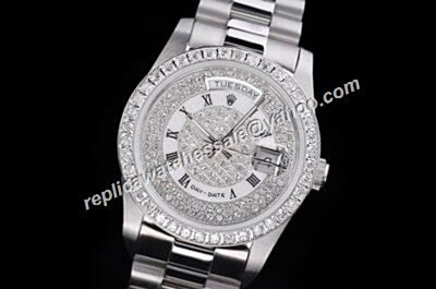 Rolex Pearlmaster 218399-83219 Platinum 18kt White Gold Paved Diamonds Day-date Watch