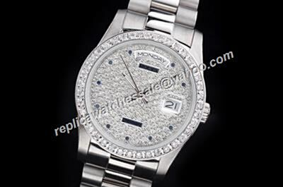 Rolex Pearlmaster 118346 Paved Diamonds Dial Day Date Automatic Silver Rep USA Watch
