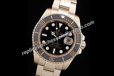 Rolex Stainless 116618LN-97208  Submariner 18K Gold Date Black Face Europe Diving Watch