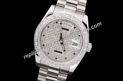 Rolex Vintage Pearlmaster Ref 118206 Paved Diamonds Dial Day Date Steel Watch RDD022