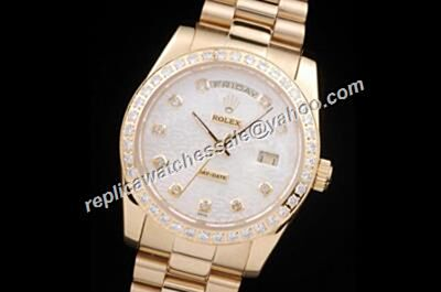 Rolex 118348 Diamonds Bezel Pearlmaster Day Date 18kt White Dial Watch Rep