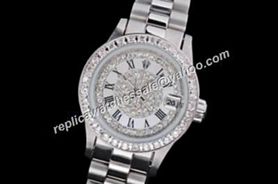 Rep Lady Rolex Pearlmaster Design Special Datejust Paved Diamonds Watch