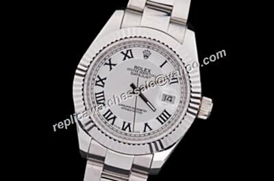 Fake Rolex Datejust Roman Oyster Precio Silver Face Steel Watch