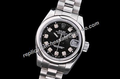 Duplicated Rolex Datejust 116201-63601 ladies Diamond Black Silver SS Bezel Watch