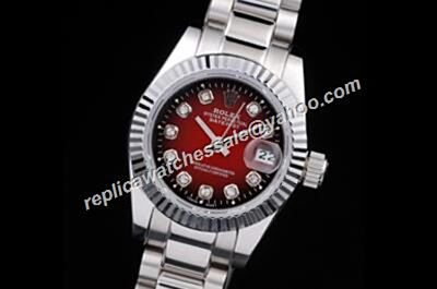 Rolex Datejust Ref 79173 Diamond Precio 26mm Red Face Oyster Watch