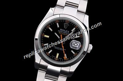 Showy Rolex Milgauss Steel Black Dial Orange Lightning Hand Watch