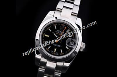 Luxury Rolex Milgauss Black Dial Orange Hand Steel Ladies Watch