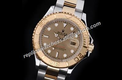2017 Rolex 42mm 16623 SS/Platinum Yachtmaster Gold Dial Men's Automatic Watch