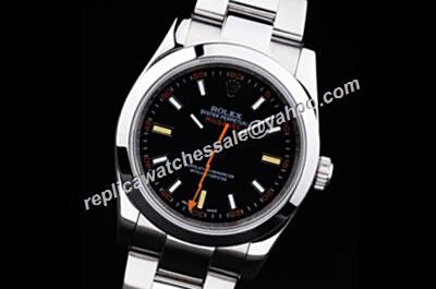 Cheap Mens Rolex Ss Milgauss 116400gv Black Face Orange Hand Watch