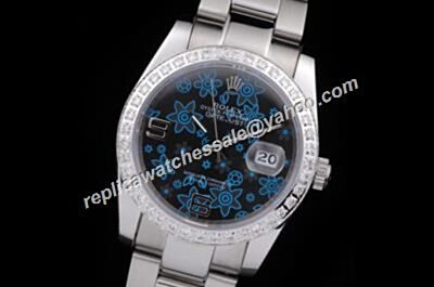Rolex Pearlmaster Style Blue Floral Motif Lady Diamond Datejust  Black Face Watch