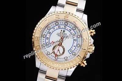 Rolex New Yacht-Master II Gold Steel Bezel White Face Automatic Watch