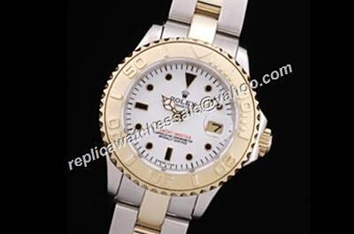 Rolex 169623 Yacht-Master Champage Gold Steel Bezel 18k White ladies Watch