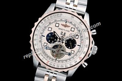 Breitling Tourbillon Navitimer Chrono 2-Tone Bracelet Day Date Knockoffs 49mm Pilot Watch