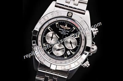 Breitling Chronomat 44GMT Silver SS 24 Hours Date Chrono Watch