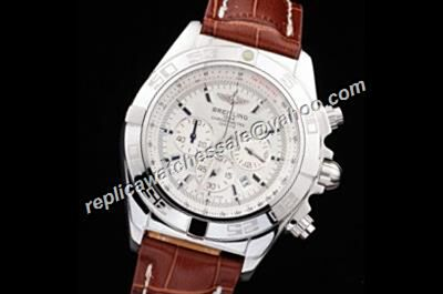 Breitling Chronomat ref IB011012/A696/433X/A20BA.1 7750 Silver Case Brown Leather Date Watch
