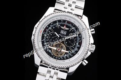 Breitling H1884/1884B079 Mulliner Tourbillon Limited Bentley Date Silver Bracelet Watch