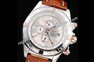 Breitling Chronomat 24 Hours White Gold Case Broan Strap 44mm Watch