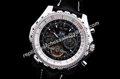 Breitling Bentley Mulliner Tourbillon Silver Case Leather Strap Day Date Watch