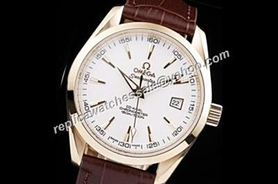 Mens Omega Seamaster Co-axial 150m/500ft 41mm Champagne Gold  Bezel Brown Leather Strap Watch OMJ563
