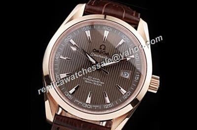 Swiss Replica Omega Seamaster 150m/500ft Automatic Brown Leather Strap 41mm Watch OMJ526