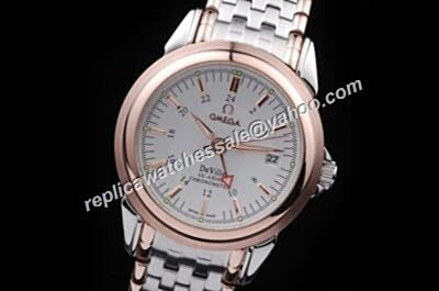 Omega De Ville Collection Gold Markers Date 2-Tone Band GMT Watch