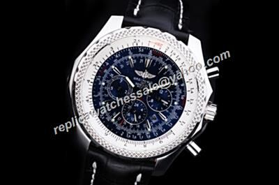 Breitling Bentley Motors A25362 T Speed Special Edition Blue Chronograph Design Silver SS Watch