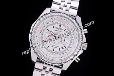 Duplicated  Breitling Bentley Supersports Motors A25362 Special Edition 100M/330FT White Gold 44mm Watch