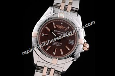 Breitling Chronomat 2-Tone Band Rose Gold Hands Rep Brown Face Watch