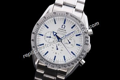 Omega Speedmaster Racing  Seconds Repeat Silver Blue Markers Watch