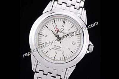 Omega De Ville GMT Automatic Co-axial Mens White Gold Date Watch