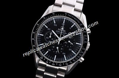 Omega Speedmaster Racing Chronograph design Black Dial Silver Bracelet Fake Watch