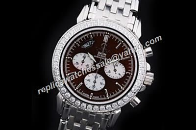 Omega De Ville 4141.50.00 Chronograph Diamond Bezel 24 Hours Watch Rep