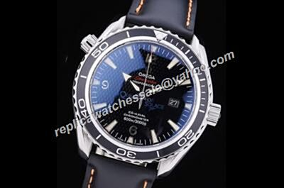 Swiss Omega Seamaster 600m/2000ft Mens Black Leather Strap Top End Date Watch