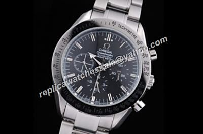 Cheap Omega Speedmaster Racing Chrono style White Gold SS Black Watch